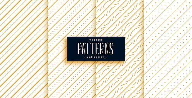 Golden diagonal lines classic pattern set