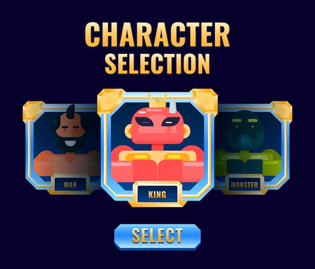 Golden diamond character selection pop up interface perfect for d gui asset elements