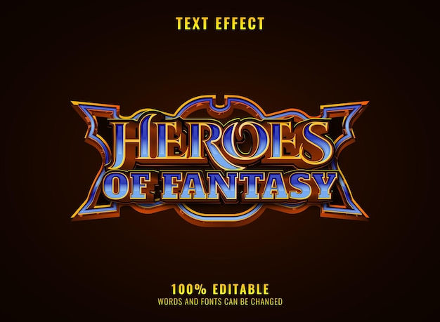 Golden diamond heroes of fantasy rpg game logo title text effect with frame
