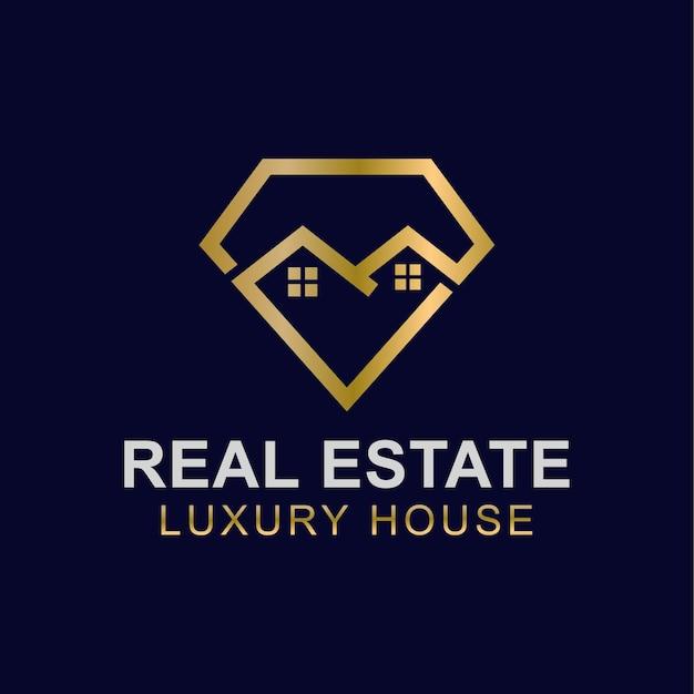 Golden diamond house or luxury home premium real estate logo design vector template