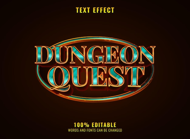 Golden diamond luxury dungeon quest medieval rpg game logo text effect