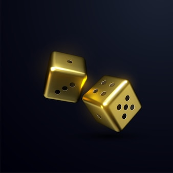 Golden dices isolated on black background.