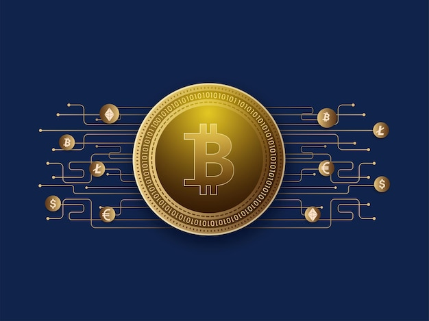 Golden digital crypto coins with circuit lines on blue background.