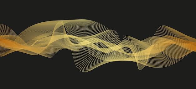 Golden digital sound wave on black background