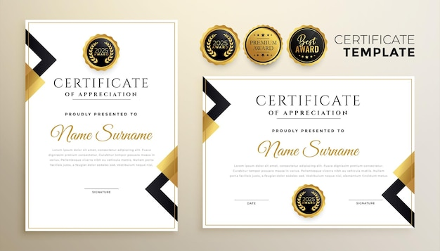 Golden diploma certificate template in premium style