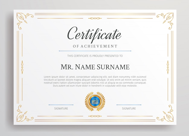 Golden diploma certificate with blue badge and border a4 template for award, business, and education needs