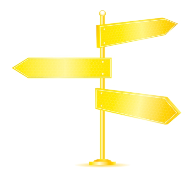 Golden direction road signs