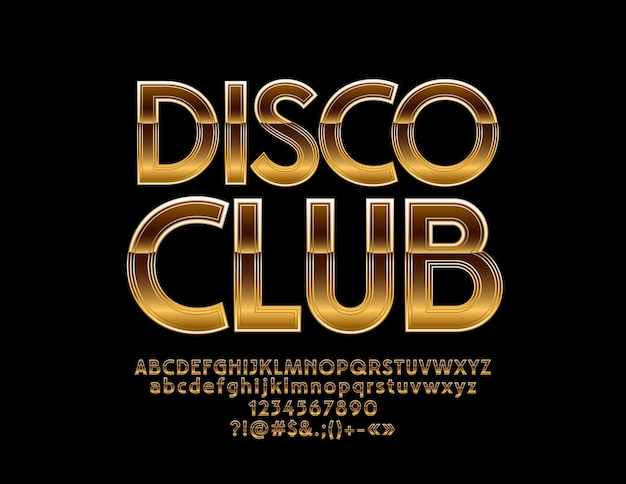 Golden disco club. alphabet letters, numbers and symbols