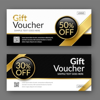 Golden discount gift voucher template