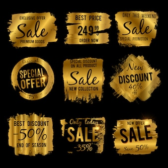 Golden discount and price tag, sale banners with grunge brushed frames and distressed textures  set