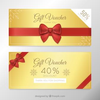 Golden discount vouchers template