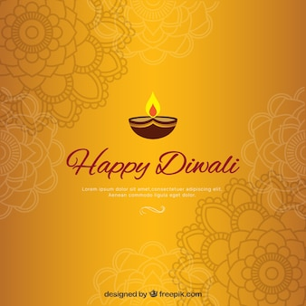 Golden diwali background with mandalas