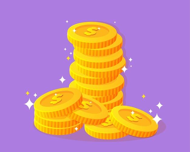 Золотые монеты доллара иллюстрации шаржа