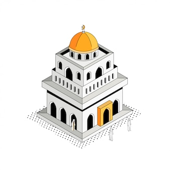 Golden dome mosque isometric outline illustration