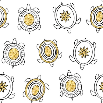 Golden doodle turtles. vector seamless pattern.