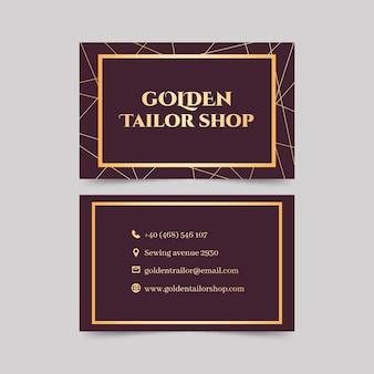 Золотая двусторонняя горизонтальная визитка