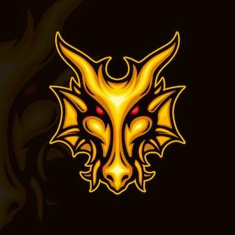 黄金のドラゴンの顔のイラスト
