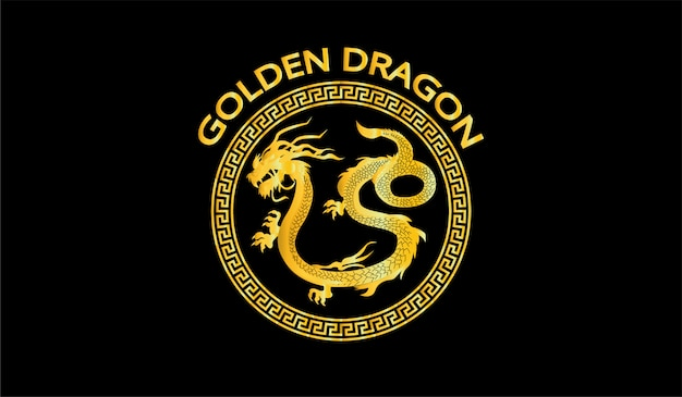 Golden dragon illustration symbol