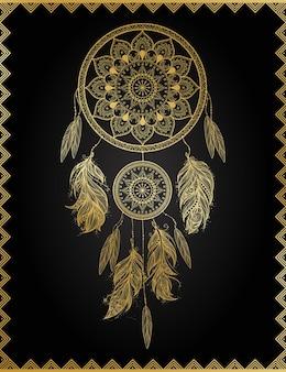 Golden dreamcatcher in frame