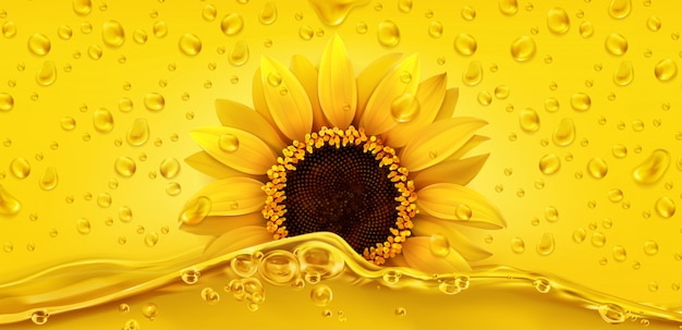 Golden drops. sunflower oil. 3d realistic