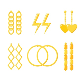 Golden earrings collection gold chain rings lightning heart accessories jewellery set vecto