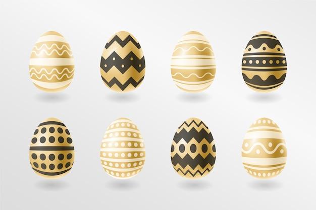 Golden easter day egg set