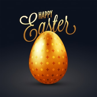 Golden easter egg with text on blue background