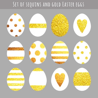 Golden easter eggs collection