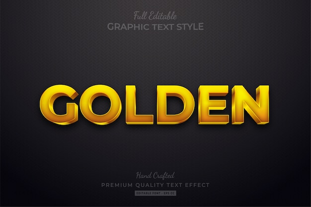 Golden editable custom text style effect premium