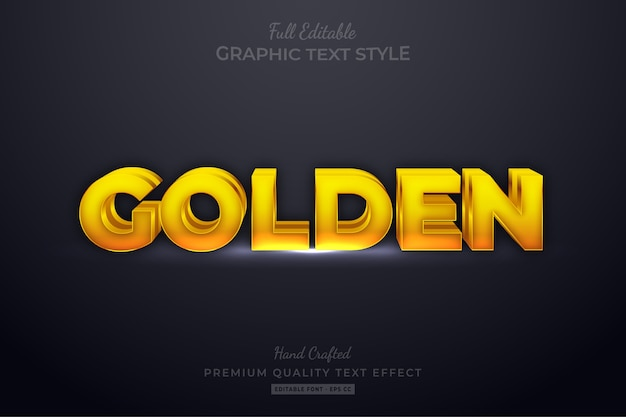 Golden editable eps text style effect premium