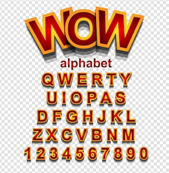 Golden effect alphabet font with letters and numbers