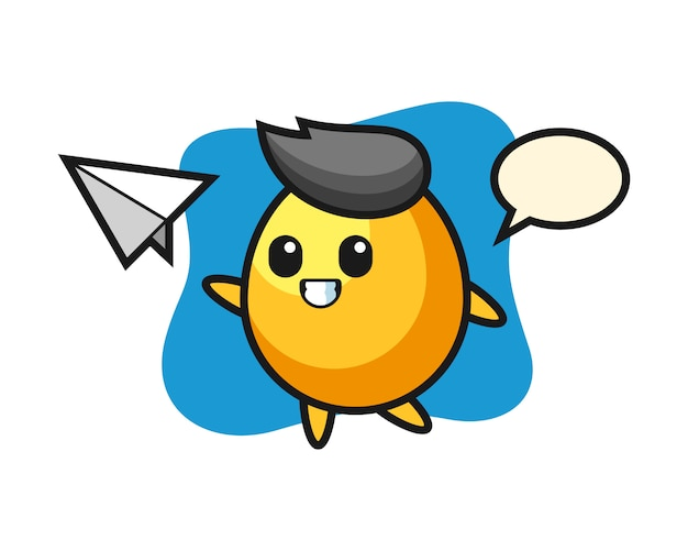 Golden egg cartoon character throwing paper airplane, cute style design