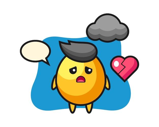 Golden egg cartoon illustration is broken heart, cute style design
