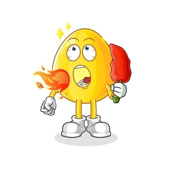 金の卵は熱い唐辛子のマスコットを食べます。漫画のマスコットマスコット
