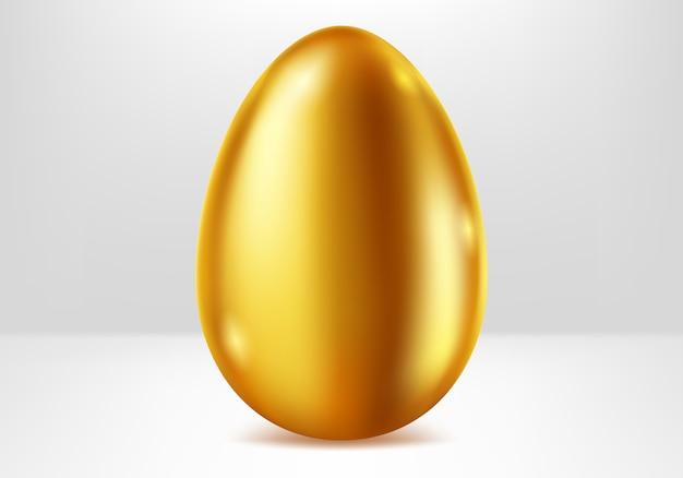 Golden egg, festive metal gift realistic