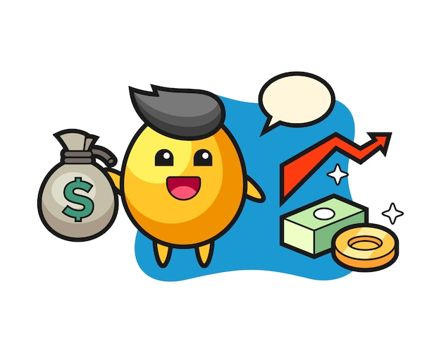 Golden egg illustration cartoon holding money sack, cute style design