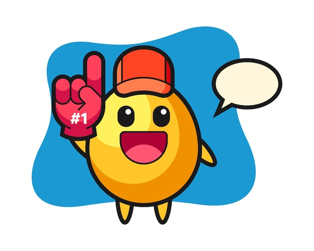 Golden egg illustration cartoon with number 1 fans glove, cute style design