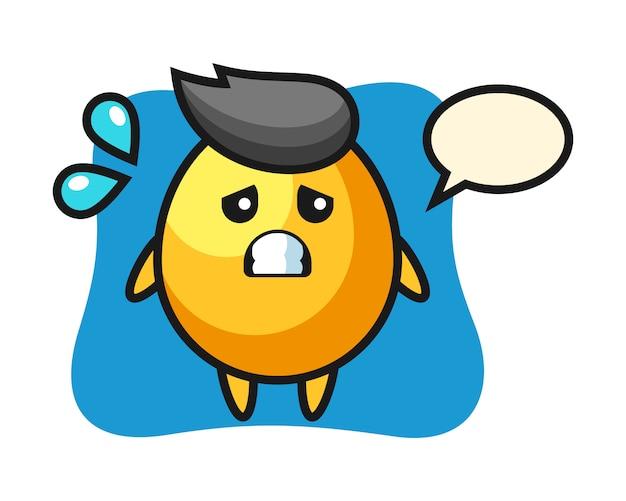 怖いジェスチャー、かわいいスタイルのデザインと黄金の卵のマスコットキャラクター
