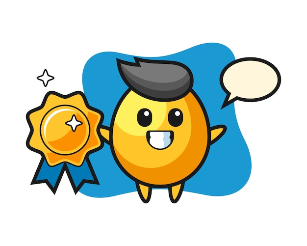 Golden egg mascot illustration holding a golden badge, cute style design