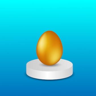 Золотое яйцо на подиуме вектор.