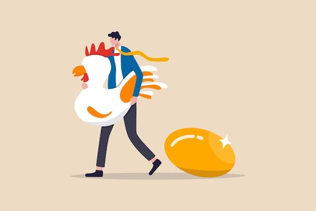 황금 달걀, 귀중한 고수익 투자 또는 배당금 개념, 행복한 사업가 투자자 또는 귀중한 황금 알을 가진 큰 흰색 암탉을 들고 사무실 급여 녀석과 함께 성공 은퇴 계획.