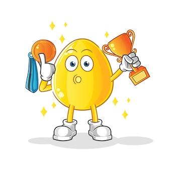 트로피와 메달 황금 달걀 우승자. 만화 캐릭터