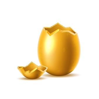 깨진, 폭발 된 달걀 껍질과 황금 알 프리미엄 벡터