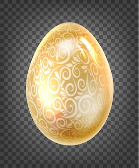 Golden egg with golden fantasy texture isolated on black transparent.