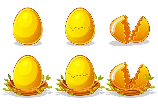 Golden eggs in birds nest of twigs.
