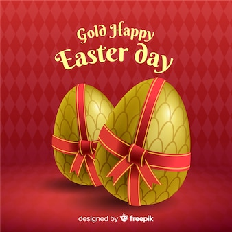 Golden eggs with bow easter day background