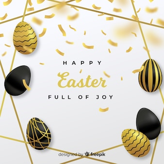 Golden eggs with feathers easter day background