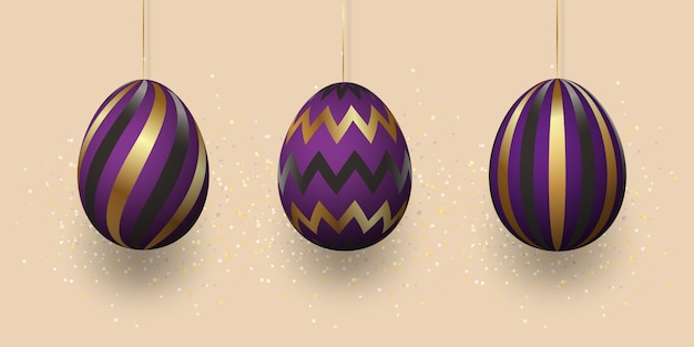 Golden eggs with geometric pattern, abstract black-violet ornament. set of realistic eggs on a light background.