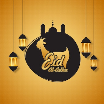 Golden eid-al-adha font with silhouette goat, mosque and lanterns hang on orange islamic pattern background.