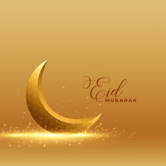 Golden eid mubarak background with shiny 3d moon